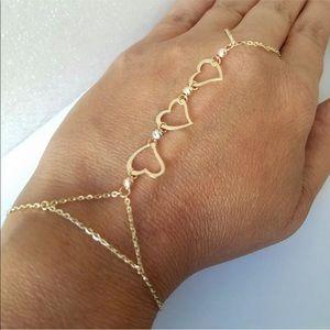 14k 3 Tone Solid Yellow Gold Finger Bracelet